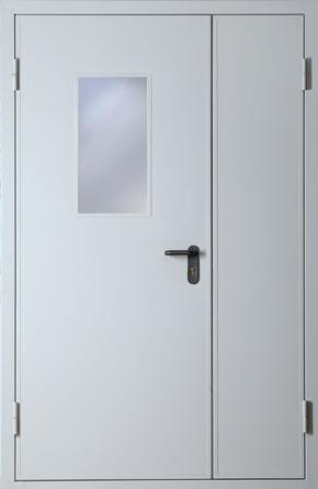 Полуторапольная противопожарная дверь со стеклом EI 30 (RAL 7035)