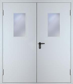 Двупольная противопожарная дверь со стеклом EI 30 (RAL 7035)