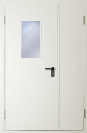 Полуторапольная противопожарная дверь со стеклом EI 60 (RAL 9016)