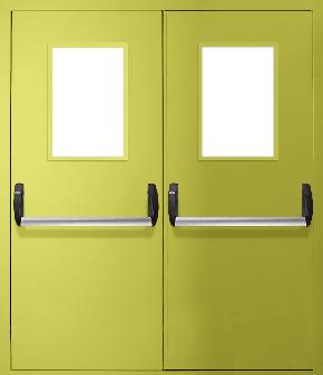 Двупольная противопожарная дверь «Антипаника» со стеклом EI 30 (RAL 1016)