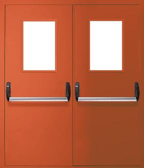 Двупольная противопожарная дверь «Антипаника» со стеклом EI 30 (RAL 2000)