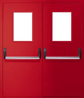 Двупольная противопожарная дверь «Антипаника» со стеклом EI 30 (RAL 3020)