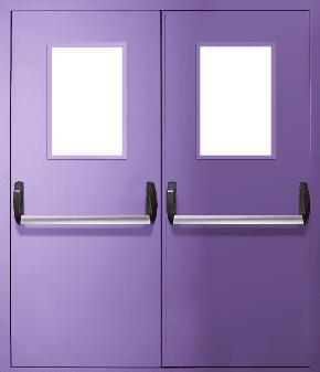 Двупольная противопожарная дверь «Антипаника» со стеклом EI 30 (RAL 4005)