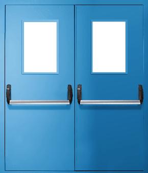 Двупольная противопожарная дверь «Антипаника» со стеклом EI 30 (RAL 5012)