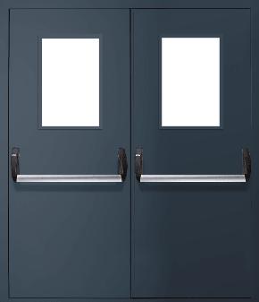 Двупольная противопожарная дверь «Антипаника» со стеклом EI 60 (RAL 7043)