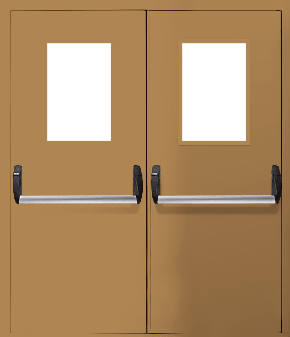 Двупольная противопожарная дверь «Антипаника» со стеклом EI 60 (RAL 8000)