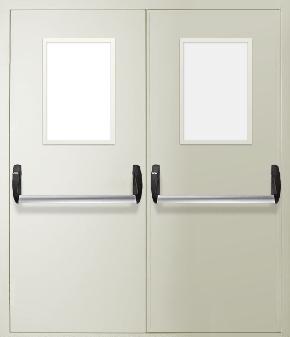 Двупольная противопожарная дверь «Антипаника» со стеклом (RAL 9016)