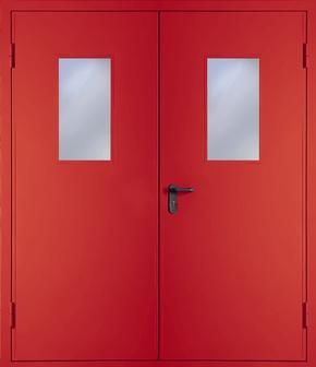 Двупольная противопожарная дверь со стеклом EI 30 (RAL 3020)