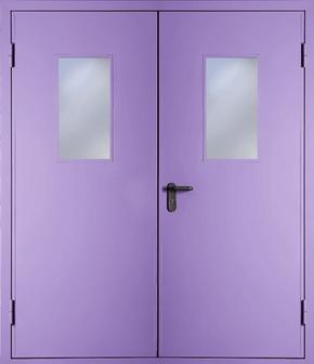 Двупольная противопожарная дверь со стеклом EI 30 (RAL 4001)