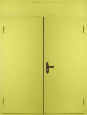 Двустворчатая глухая техническая дверь с фрамугой (RAL 1016)