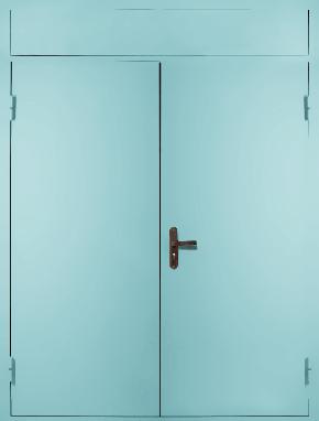Двустворчатая глухая техническая дверь с фрамугой (RAL 6027)