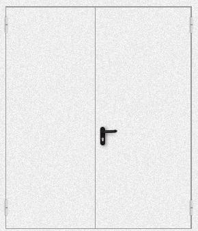 Двупольная противопожарная дверь с порошковым напылением (белая)