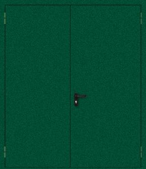 Двупольная противопожарная дверь с порошковым напылением (зеленая)