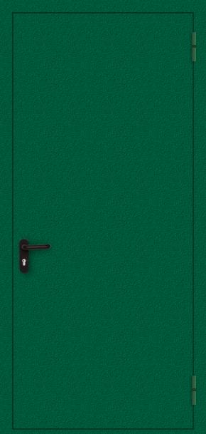 Однопольная противопожарная дверь с порошковым напылением (зеленая)
