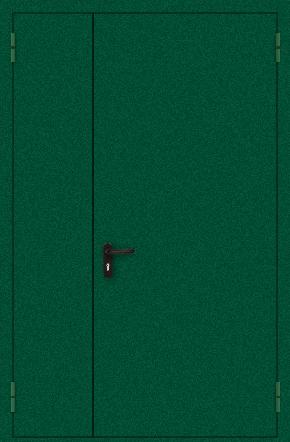 Полуторапольная противопожарная дверь с порошковым напылением (зеленая)