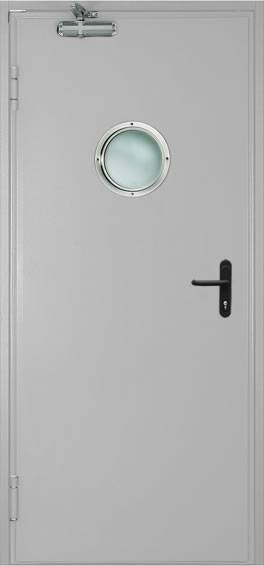 Однопольная противопожарная дверь c круглым стеклом (RAL 7035)