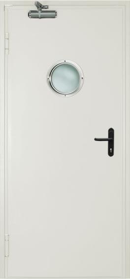 Однопольная противопожарная дверь c круглым стеклом (RAL 9016)