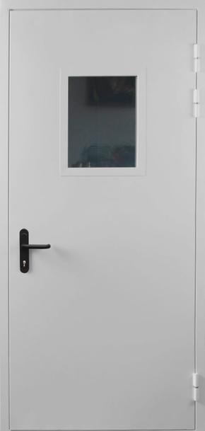 Однопольная противопожарная дверь cо стеклом EI 30 (RAL 7035)
