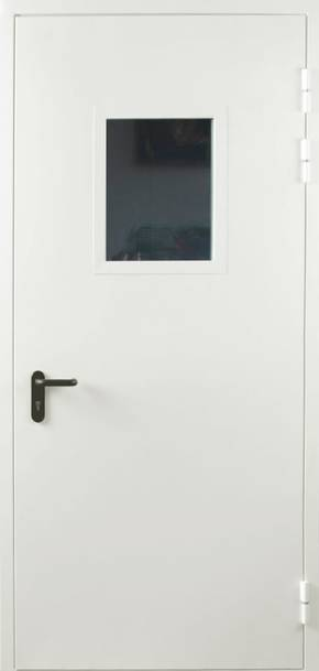 Однопольная противопожарная дверь cо стеклом EI 30 (RAL 9016)