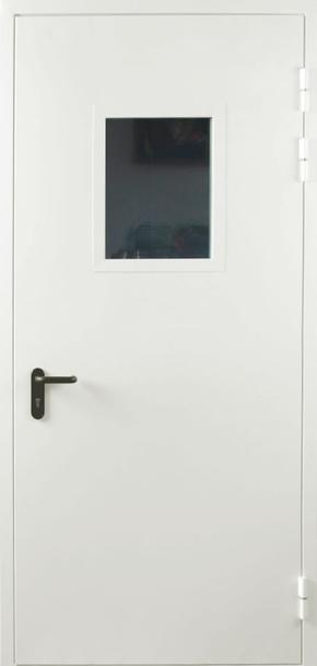 Однопольная противопожарная дверь cо стеклом EI 60 (RAL 9016)