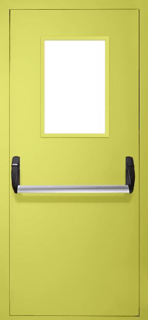 Однопольная противопожарная дверь «Антипаника» со стеклом EI 30 (RAL 1016)