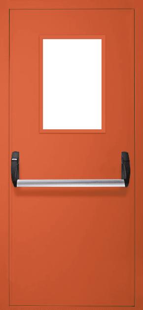 Однопольная противопожарная дверь «Антипаника» со стеклом EI 30 (RAL 2000)