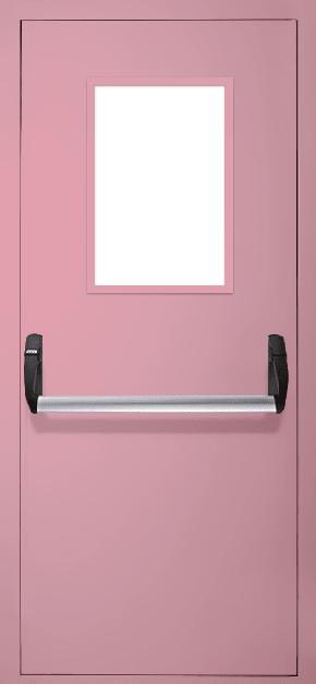Однопольная противопожарная дверь «Антипаника» со стеклом EI 30 (RAL 3015)