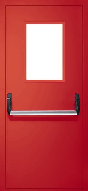 Однопольная противопожарная дверь «Антипаника» со стеклом EI 30 (RAL 3020)