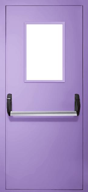 Однопольная противопожарная дверь «Антипаника» со стеклом EI 30 (RAL 4005)
