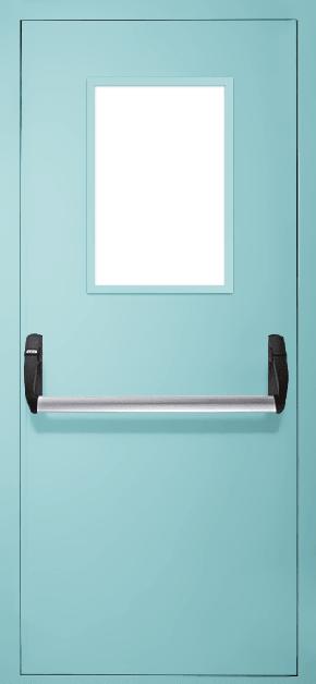 Однопольная противопожарная дверь «Антипаника» со стеклом EI 60 (RAL 6027)