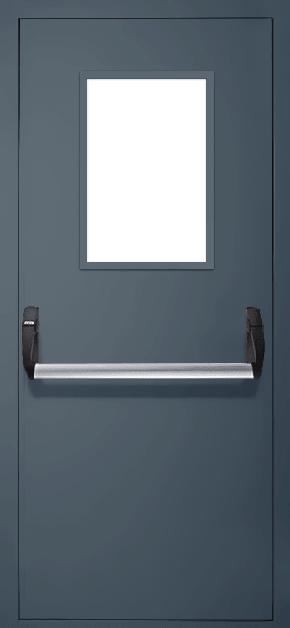 Однопольная противопожарная дверь «Антипаника» со стеклом EI 60 (RAL 7043)
