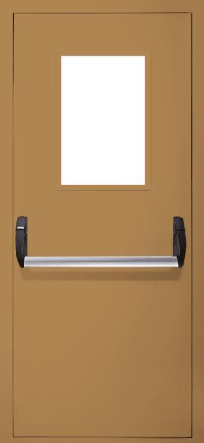 Однопольная противопожарная дверь «Антипаника» со стеклом EI 60 (RAL 8000)