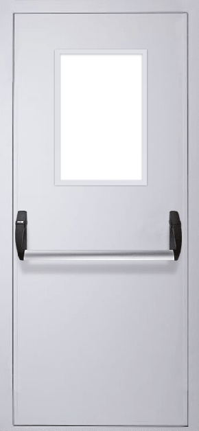 Однопольная противопожарная дверь «Антипаника» со стеклом (RAL 7035)