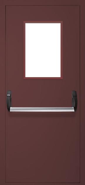 Однопольная противопожарная дверь «Антипаника» со стеклом (RAL 8017)