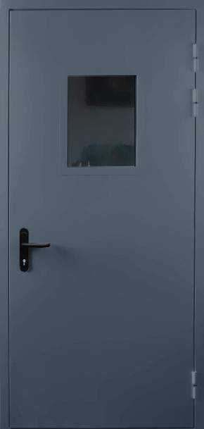 Однопольная противопожарная дверь со стеклом EI 60 (RAL 7043)