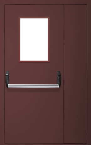 Полуторапольная противопожарная дверь «Антипаника» со стеклом (RAL 8017)