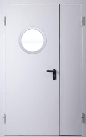 Полуторапольная противопожарная дверь с круглым стеклом EI 30 (RAL 7035)