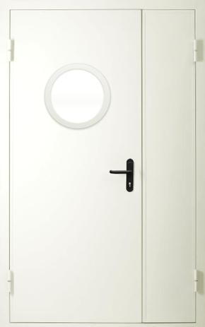 Полуторапольная противопожарная дверь с круглым стеклом (RAL 9016)