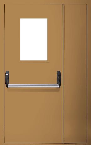 Полуторапольная противопожарная дверь «Антипаника» со стеклом EI 60 (RAL 8000)