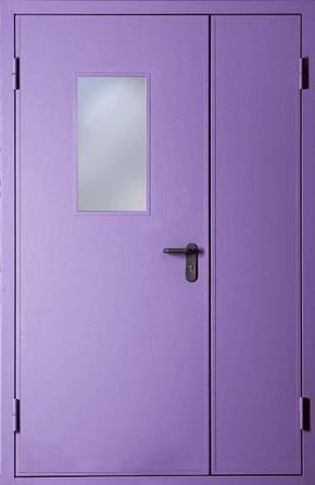 Полуторапольная противопожарная дверь со стеклом EI 30 (RAL 4001)