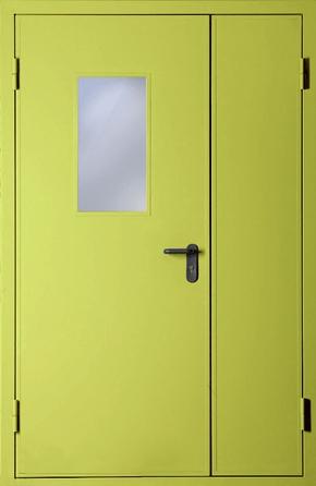 Полуторапольная противопожарная дверь со стеклом EI 60 (RAL 1016)