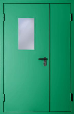 Полуторапольная противопожарная дверь со стеклом EI 60 (RAL 6024)