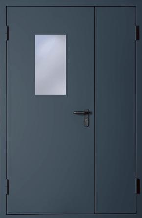 Полуторапольная противопожарная дверь со стеклом EI 60 (RAL 7043)