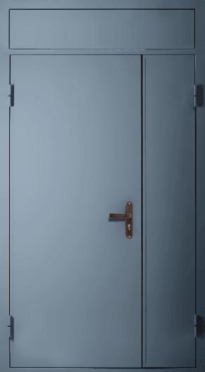 Полуторная глухая техническая дверь с фрамугой (RAL 7043)