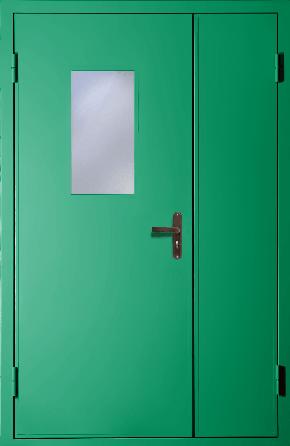 Полуторная техническая дверь со стеклом (RAL 6024)