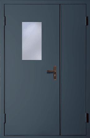 Полуторная техническая дверь со стеклом (RAL 7043)