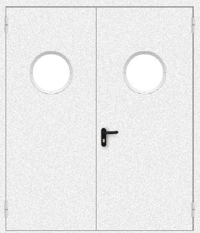 Двупольная противопожарная дверь с круглым стеклом (порошок / белая)