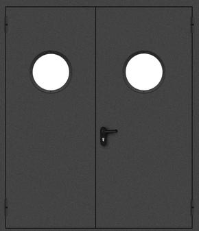 Двупольная противопожарная дверь с круглым стеклом (порошок / черная)