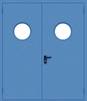 Двупольная противопожарная дверь с круглым стеклом (порошок / синяя)