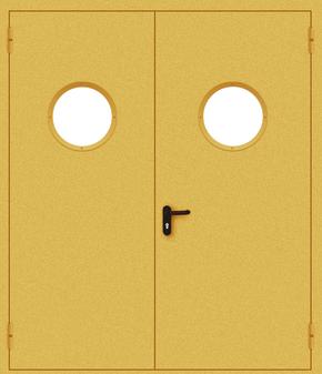 Двупольная противопожарная дверь с круглым стеклом (порошок / желтая)
